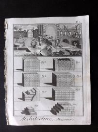 Diderot 1780's Antique Print. Architecture, Maconnerie 01 Masonry